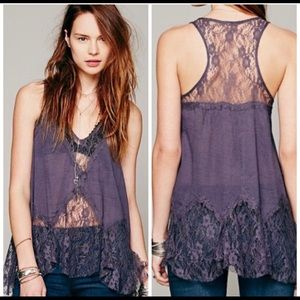 Intimately Free People Purple Lace V-neck Top,